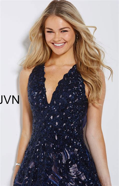 jovani jvn  neckline sequin long dress