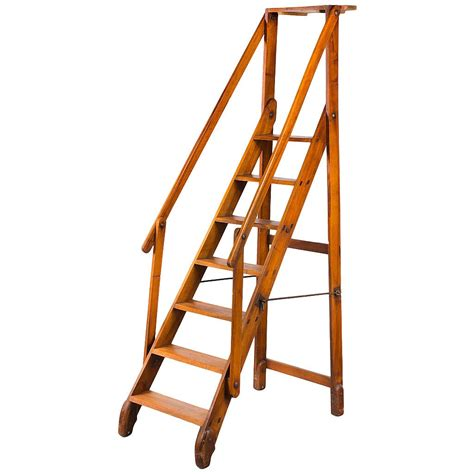 library ladders early 20th century walnut folding library ladder at 1stdibs