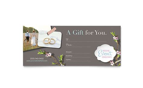 graphic design gift card template portfolio wedding planner gift certificate template design