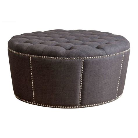 Gray Leather Ottoman Bowery Hill Nailhead Leather Ottoman In Gray Bh 641921