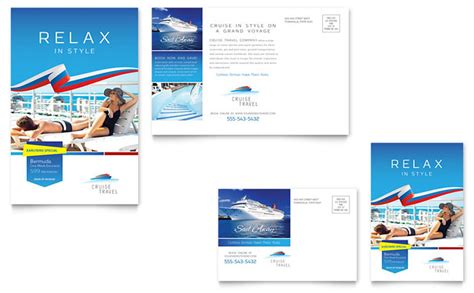 cruise travel postcard template design