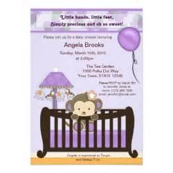 monkey baby shower invitation purple 5 quot x 7 quot invitation card zazzle