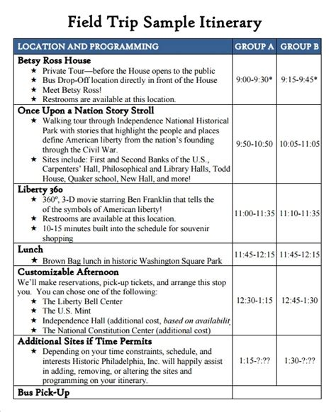 field trip template 10 event itinerary template collections