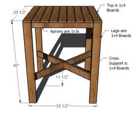 pub table plans white outdoor modern bar table x base diy projects