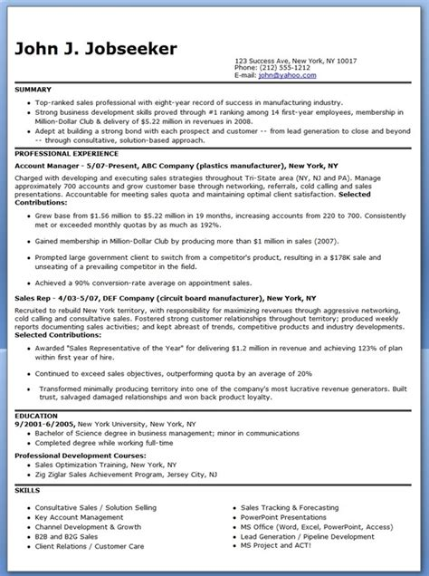 sales representative resume selling sample example accounts
