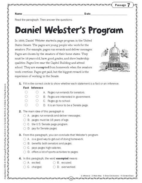 Comprehension Skills Short Passages For Close Reading Grade 6