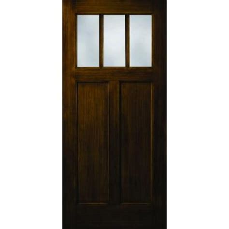 craftsman 2 panel 3 lite stained premium fiberglass