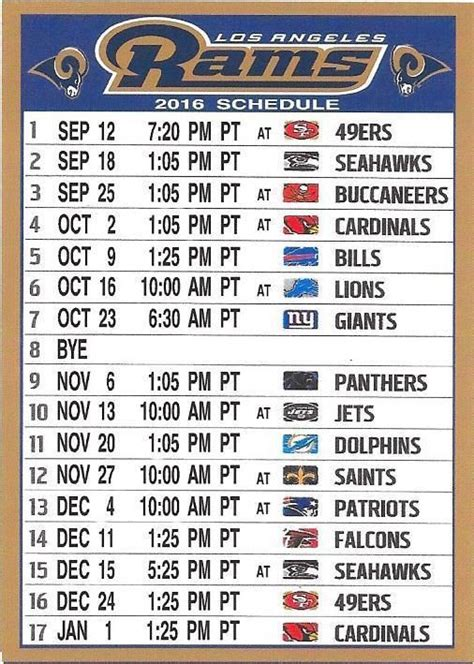 schedule rams los angeles angeles and nfl on