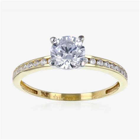 Ring Ring torino 9ct gold diamonflash 174 cubic zirconia solitaire ring