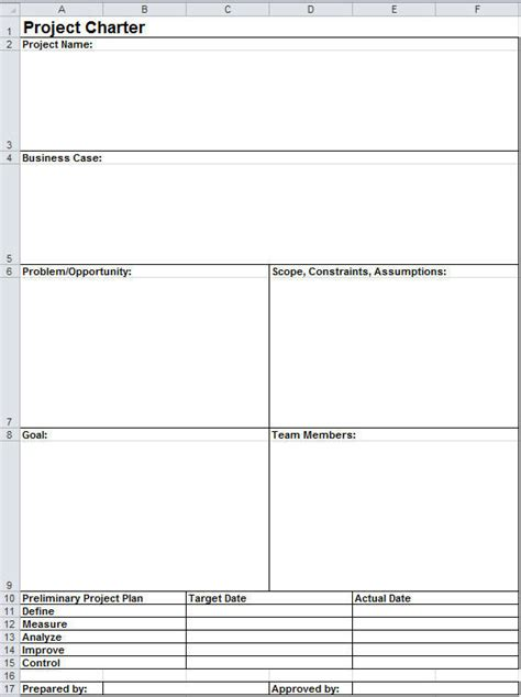 team charter template exle project charter template in excel