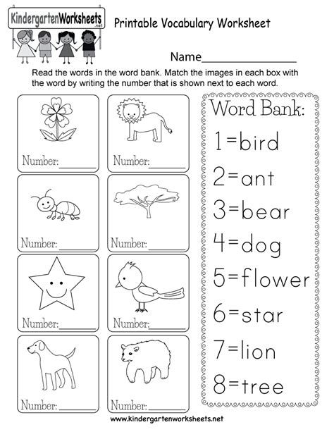printable english worksheets kindergarten printable vocabulary worksheet free kindergarten english