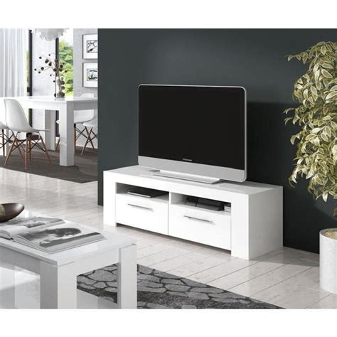 diamentino meuble tv 120cm blanc brillant achat vente