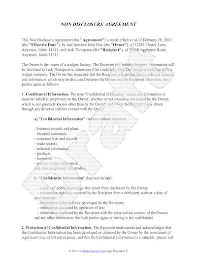 non disclosure agreement template free sle nda