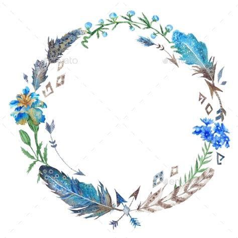 boho floral and feather wreath by kisika graphicriver
