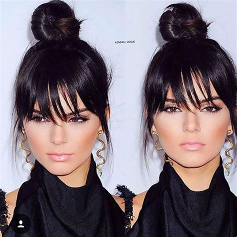 high buns with bangs for chubby cheeks hairstyles pinterest the world s catalog of ideas