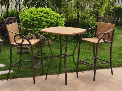3 Piece Wicker Patio Set Chair Bar Set And High Bar Table