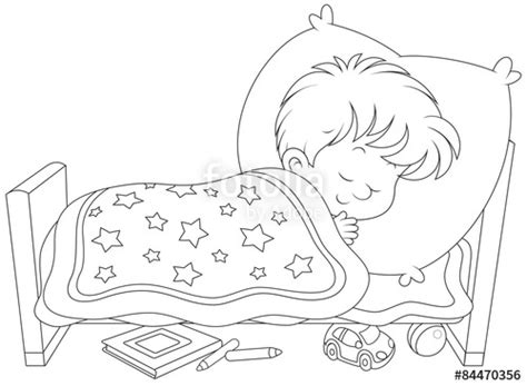 coloring page boy sleeping quot little boy sleeping in his small bed quot stock image and