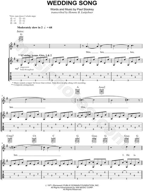 Wedding Song Tab by Paul And Quot Wedding Song There Is Quot Guitar