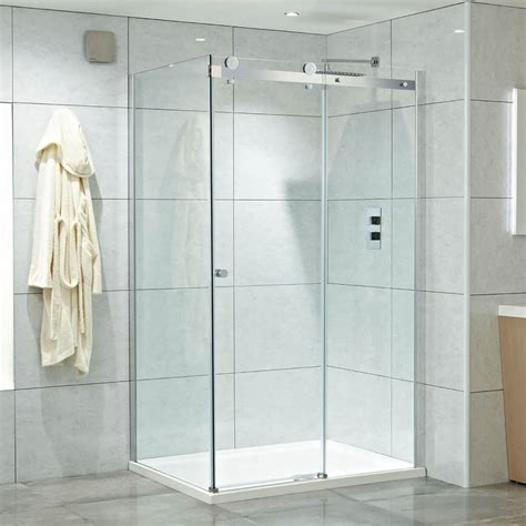 Single Door Shower Enclosure Corner Frameless Single Sliding Door Shower Enclosures