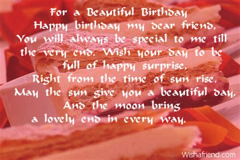 for a beautiful birthday friends birthday poem