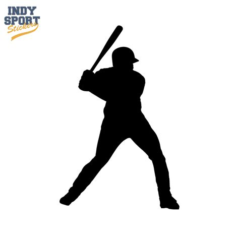 Flat Color Combination by Baseball Batter With Silhouette Car Stickers And Decals