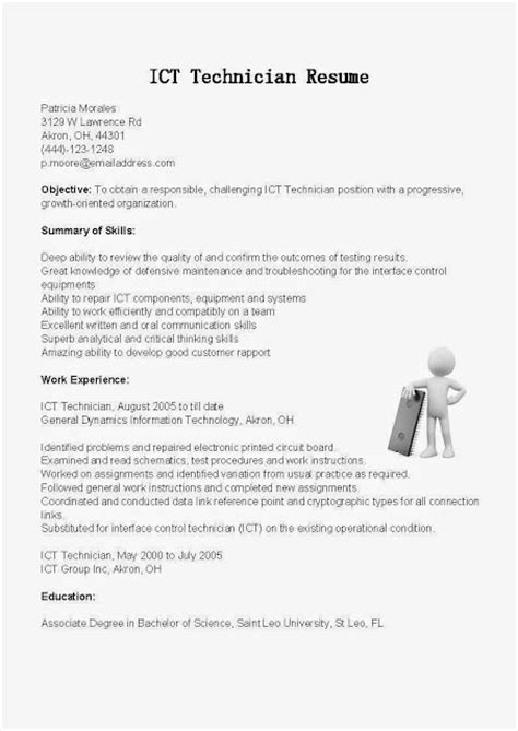 ict cover letter great sle resume resume sles ict technician resume