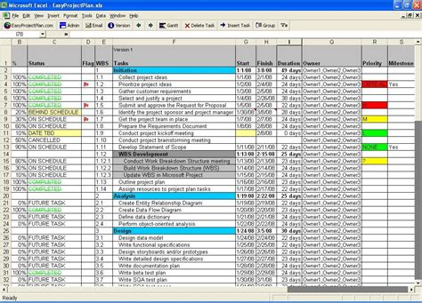 project template excel excel planning template for project management plannings