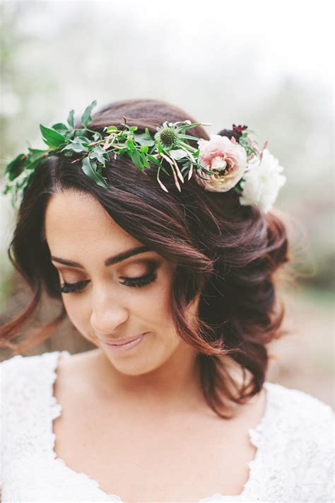wedding up dos with a crown boho wedding hairstyles a flower crown and a curly updo