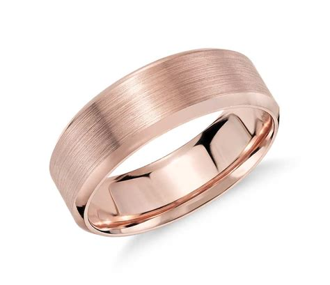 rose gold brushed beveled edge wedding ring in 14k rose gold 7mm