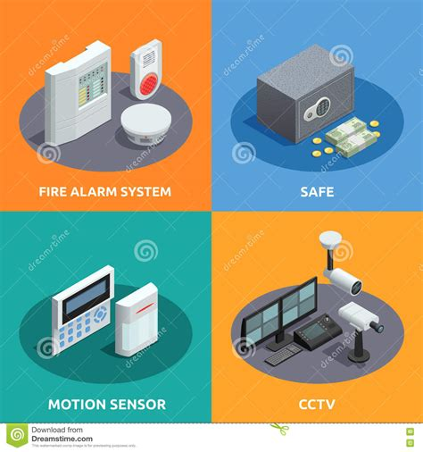 home security isometric 4 icons square stock vector