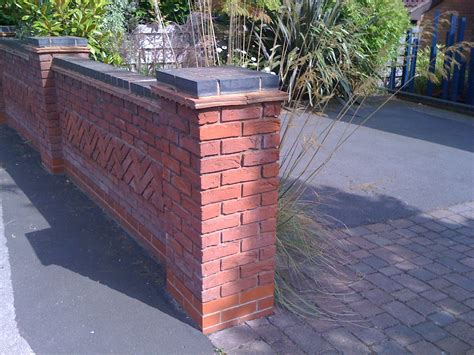 Wall 3d Brick Br1317 Blue blue brick top to garden wall more blue brick topped