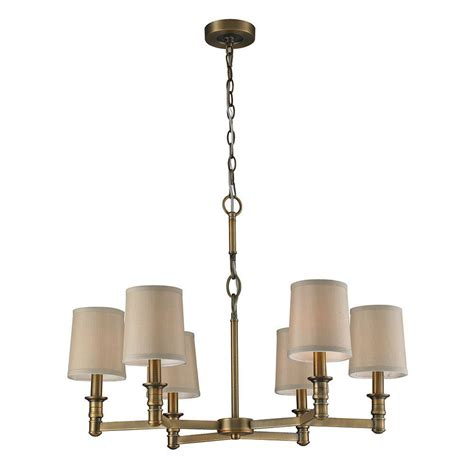 Titan Lighting Baxter 6 Light Brushed Antique Brass Chandelier Antique Brass