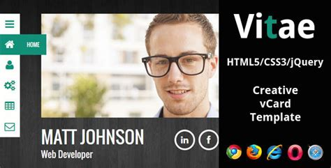 Profile Template Html5 vitae responsive html5 vcard template by lglab themeforest