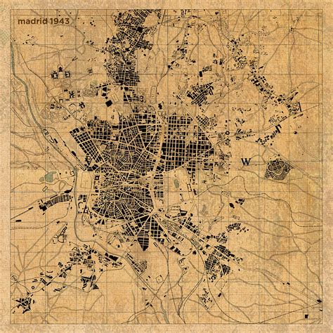 map of madrid spain vintage street map schematic circa