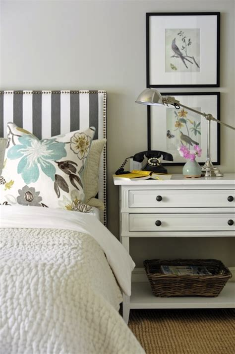 Striped Headboard Transitional Bedroom Ralph Lauren Black And White Striped Headboard