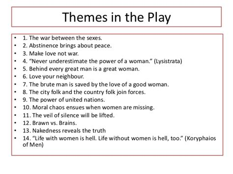 Theme Exles In Plays | lysistrata aristotle plot character theme