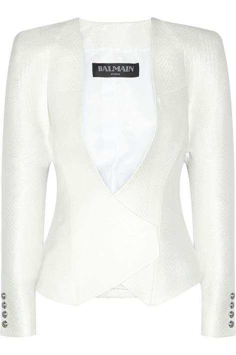 Jacquard Ruffle Blazer balmain jacquard blazer net a porter style