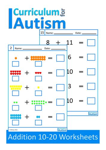 Free Printable Worksheets For Autistic Children by Addition 10 20 Worksheets Autism Special Education By