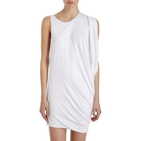 side drape dress wayne side drape dress in white lyst