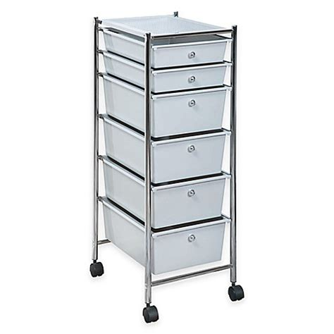 plastic storage cart 6 drawers 6 drawer plastic rolling storage cart bed bath beyond
