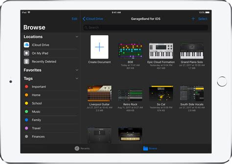 garageband ipad browse your garageband for ios songs apple support