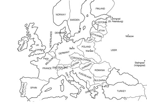 map of europe colouring europe map black and white thefreebiedepot