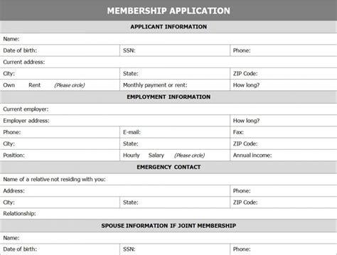 member registration form template membership application form template 187 template