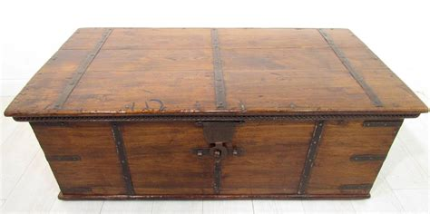 Large Trunk Coffee Table A Large Antique 18th C Iron Bound Teak Coffer Trunk Coffee Table Ebay