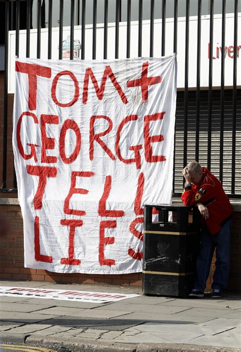 Regime Usa Burner photos liverpool fans burn us flag in protest hicks gillett regime who ate all the pies