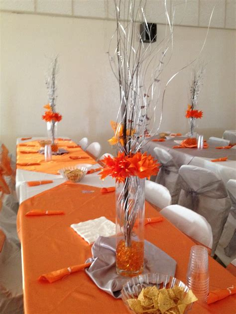 sweet 16 theme decorations niece s sweet 16 decorations orange silver theme