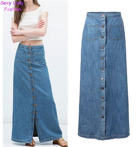Rok Denim Maxi Skirt Naura Skirt aliexpress buy 2015 new summer vintage light blue button denim maxi skirt s