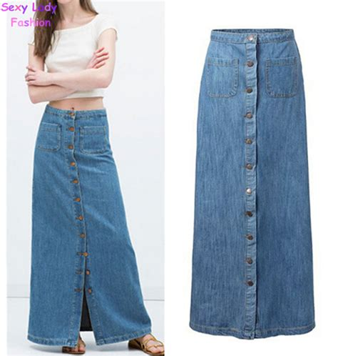 Rok Denim Maxi Skirt Dominggo Rok aliexpress buy 2015 new summer vintage light blue