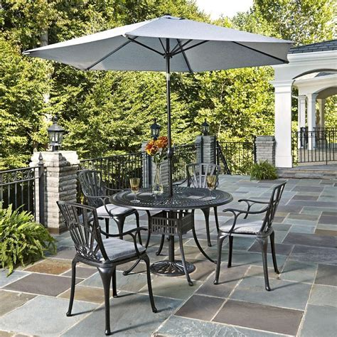 Patio Dining Set With Umbrella Home Styles Largo 5 Patio Dining Set With Gray Cushions And Umbrella 5560 3286c The Home