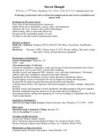 Telecommunications Technician Sle Resume by Telecom Cover Letter Sle